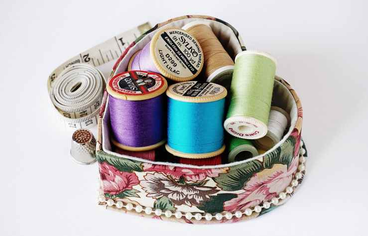 assorted color threads with case