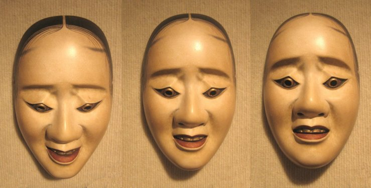 Three_pictures_of_the_same_noh_'hawk_mask'_showing_how_the_expression_changes_with_a_tilting_of_the_head